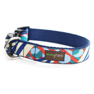 Blue & Orange Geometric Dog Collar