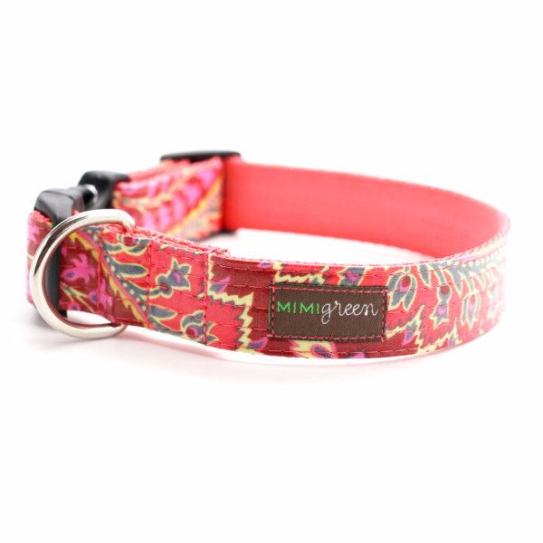 Pink Paisley Laminated Dog Collar