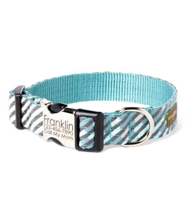 engraved Blue and Grey Striped dog collar
