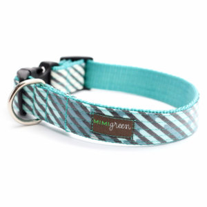 Blue and Grey Striped dog collar
