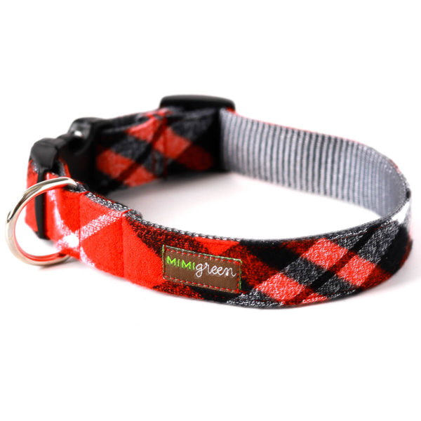 Red Flannel Dog Collar
