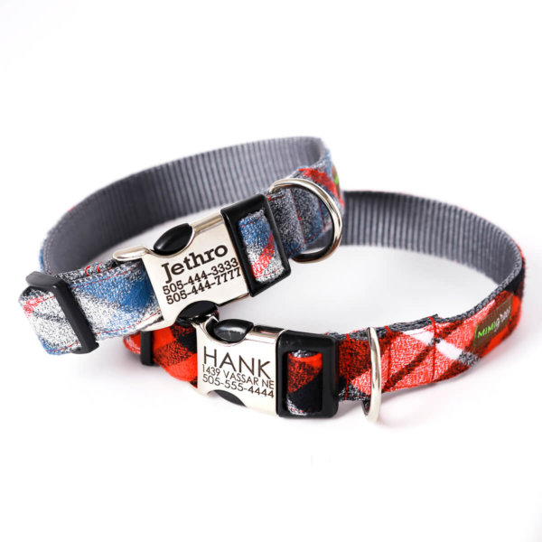 Personalized Flannel dog collars