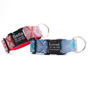 NATIVE PATTERN DOG COLLAR FOR LARGE DOGS