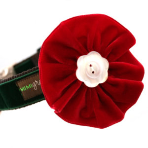 Holly Velvet Dog Collar Flower