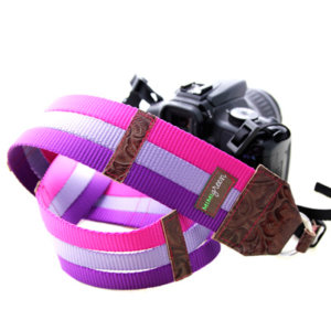 Fashion DSRL Camera Strap -- Purple & Raspberry