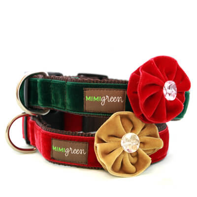 'Holly' Velvet Dog Collar